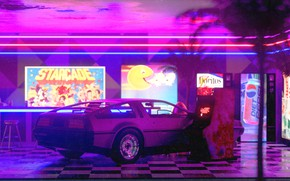 Картинка Авто, Ночь, Машина, Стиль, DeLorean DMC-12, Арт, Art, 80s, Style, DeLorean, DMC-12, Neon, Рендеринг, Illustration, …