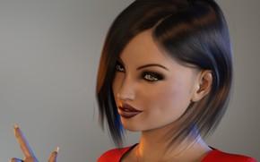 Картинка девушка, рука, причёска