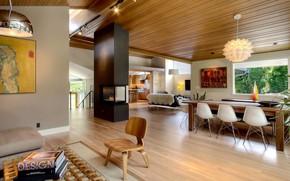Картинка интерьер, кухня, гостиная, столовая, Madison Park house