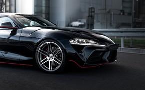 Картинка чёрный, купе, Toyota, Supra, передняя часть, пятое поколение, mk5, Manhart, двухместное, 2020, GR Supra, A90, …
