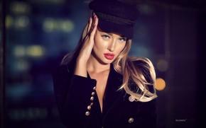 Картинка взгляд, поза, фон, модель, портрет, макияж, прическа, блондинка, кепка, красотка, пиджак, боке, Stanislav Silyanov