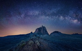 Картинка скала, долина, rock, Млечный Путь, valley, milky way, Michael Zheng