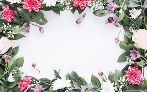 Картинка цветы, рамка, colorful, pink, flowers, frame, floral