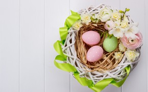 Картинка цветы, праздник, Пасха, корзинка, wood, Easter, Eggs, лютик