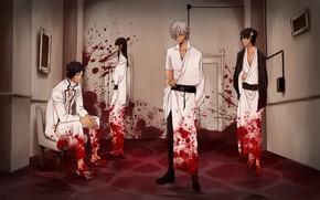 Картинка кровь, аниме, арт, парни, Гинтама, GINTAMA