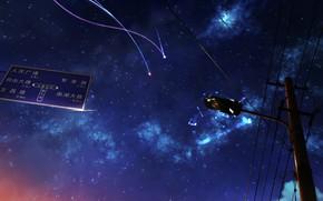 Картинка линии, минимализм, кометы, фонарь, звёздное небо