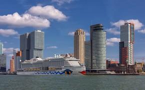 Картинка корабль, дома, Нидерланды, лайнер, Роттердам