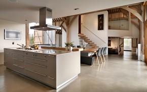 Картинка интерьер, кухня, гостиная, столовая, ранчо, barn conversion