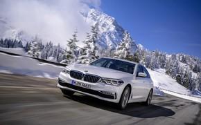 Картинка белый, снег, горы, BMW, седан, гибрид, 5er, четырёхдверный, 2017, 5-series, G30, 530e iPerformance