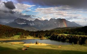 Картинка лес, небо, солнце, облака, деревья, горы, тучи, озеро, поля, радуга, Германия, домики, луга, Bavaria, Geroldsee