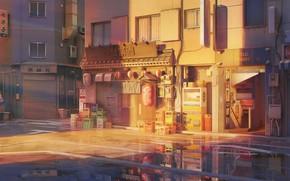 Картинка улица, вечер, лужи, by ArseniXC