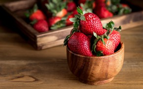 Картинка ягоды, стол, клубника, красные, миска, ящик, деревянная, боке