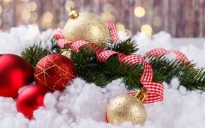 Картинка снег, шары, елка, Новый Год, Рождество, Christmas, balls, snow, New Year, decoration, Happy, Merry, fir …