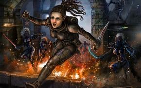 Картинка девушка, погоня, арт, эльфы, нож, амулет, стрелы, убийцы, lidda