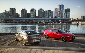Картинка фото, Mazda, Автомобили, Два, Mazda3, 2019