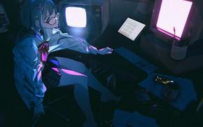 Картинка девушка, ночь, мониторы, экраны