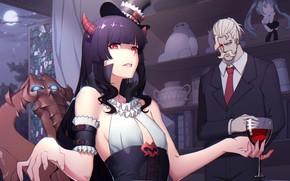 Картинка девушка, демонесса, бармен
