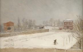Картинка снег, дом, картина, Зимний пейзаж, Giuseppe De Nittis, Джузеппе Де Ниттис