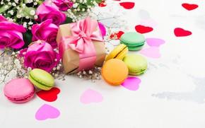 Картинка подарок, розы, печенье, сердечки, декор