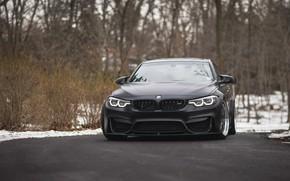 Картинка BMW, Winter, Black, Snow, F80, Sight