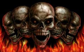 Картинка огонь, черепа, глазницы