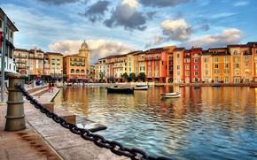 Картинка city, sky, sea, Italy, clouds, houses, boat, building, cityscape, church, Portofino