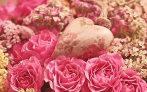 Картинка цветы, розы, букет, розовые, сердечко
