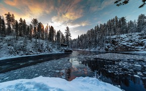 Картинка лед, зима, лес, снег, река, Agnеs Perrodon