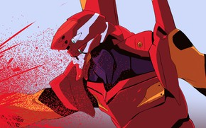 Картинка красный, робот, Евангелион, Evangelion