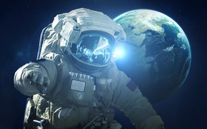 Картинка Скафандр, Космос, Земля, Астронавт, Космонавт, Earth, Mission, Science Fiction, Astronaut, Cosmonaut, Visual Effects, SCI-FI, Vadim …