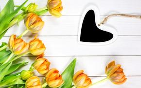 Картинка любовь, цветы, сердце, желтые, тюльпаны, love, heart, yellow, wood, flowers, romantic, tulips, spring