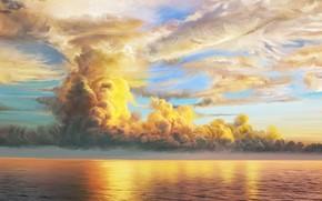 Картинка море, облака, природа, арт, Storm, Nina Vels