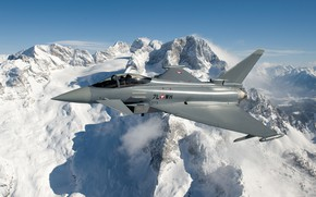 Картинка Скалы, Гора, Пилот, Eurofighter Typhoon, ПГО, Многоцелевой Истребитель, ВВС Австрии