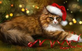 Картинка кот, пушистый, рыжий, Новый год, ёлка, серпантин, колпак, котейка