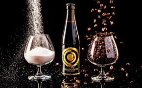 Обои пиво, бокалы, сахар, черный фон, кофейные зёрна, напитк