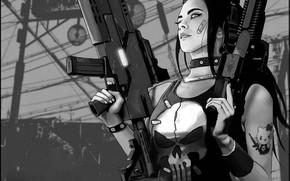 Картинка Оружие, Череп, Science Fiction, Art, by Petri Rahkola, Black&White, Cyperpunk, Punisher girl, Стиль, Fantasy, Style, …