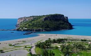 Картинка beach, sky, trees, sea, landscape, Italy, island, Calabria, Praia a Mare, Isola di Dino