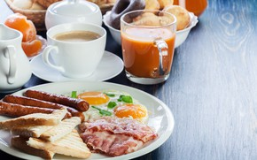 Картинка кофе, еда, завтрак, молоко, печенье, сок, фрукты