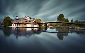 Картинка мост, город, Франция, дома, реки, Сомма, Амьен