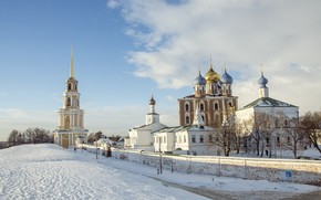 Картинка зима, небо, снег, церковь, храм, вал