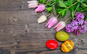 Картинка цветы, яйца, Пасха, тюльпаны, happy, wood, pink, flowers, tulips, eggs, easter, decoration