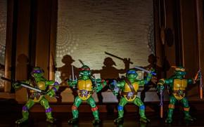 Картинка игрушка, мультфильм, тень, фигурки, донателло, микеланджело, turtles, mutant ninja turtles, TMNT, леонардо, черепашки ниндзя, ninja, …