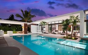 Картинка пальмы, вилла, вечер, бассейн, архитектура, терраса, by Choeff Levy Fischman Architecture+Design, Weston Residence