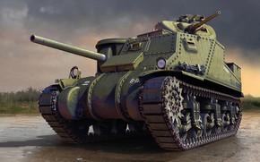Картинка US Army, M3 Lee, американский средний танк, с клёпаным корпусом
