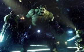 Картинка ночь, дождь, игра, Халк, Marvel's Avengers