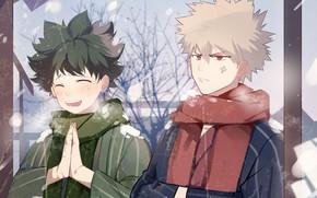 Картинка зима, парни, молитва, My Hero Academia, Boku No Hero Academia, Мидория Изуку, Моя Геройская Академия, …