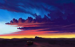 Картинка car, twilight, sky, desert, landscape, sunset, art, clouds, sun, artist, digital art, artwork, van, BisBiswas