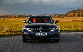 Картинка чёрный, BMW, вид спереди, 3-series, универсал, 3er, 2020, 2019, G21, M340i xDrive Touring