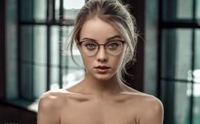 Обои модель, очки, Maria, Ali Falak, боке, макияж, прическа, красотка, блондинка, взгляд, портрет