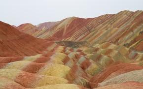 Картинка небо, горы, Léonard Rodriguez, цветные горы, Gansu province